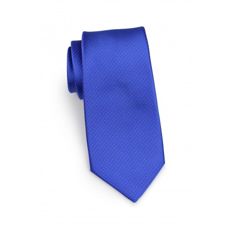 royal blue necktie with pin dots
