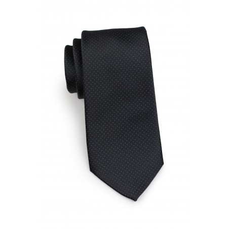 slim width tie in black with silver woven micro dots