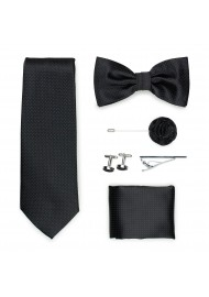 jet black menswear accessory set