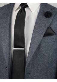 black slim pin dot necktie