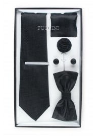 gift tie and bowtie set in jet black