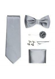 menswear formal tie set in sterling silver