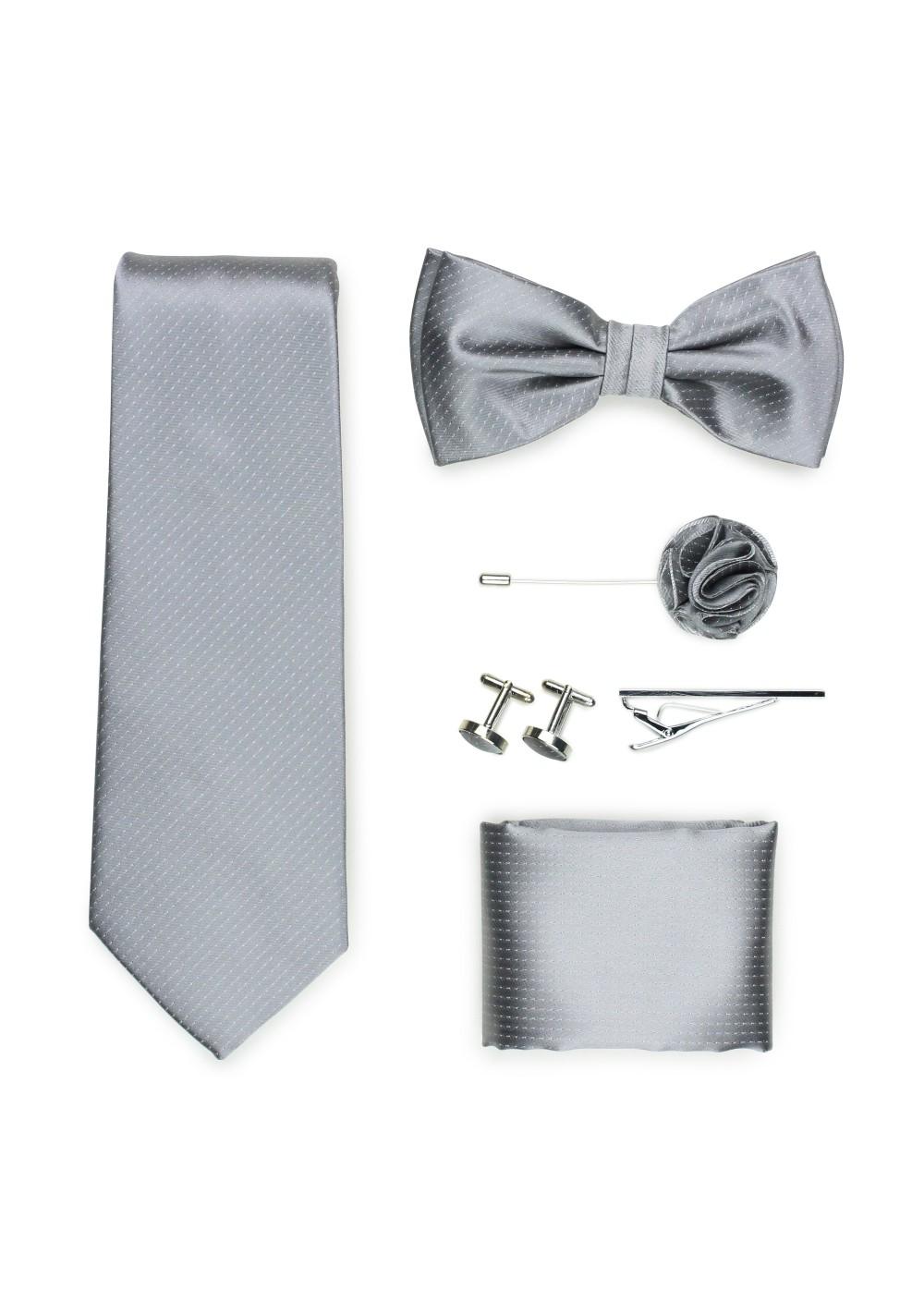 menswear formal tie set in sterling silver