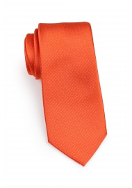 slim cut tie in tangerine orange with micro dots