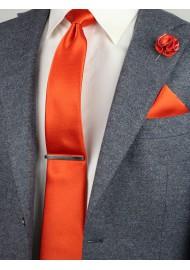 pin dot designer tie in tangerine orange
