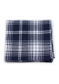 tartan check hanky in navy and white