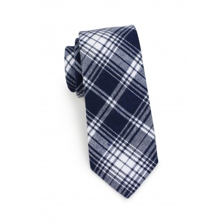 skinny tartan mens tie in dark navy