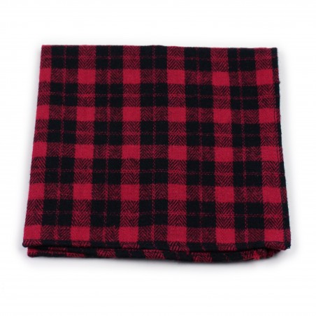 tartan plaid hanky in red and black in matte woven cotton