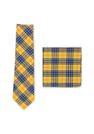 amber and navy tartan plaid tie and pocket square set