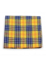tartan plaid suit pocket hanky in amber yellow