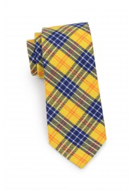 skinny tartan tie in amber yellow and navy blue