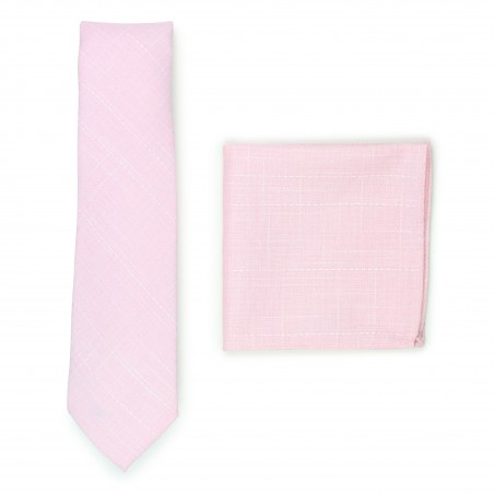 bridal pink slim cut cotton tie and hanky set