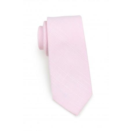 skinny summer tie in cotton in bridal pink