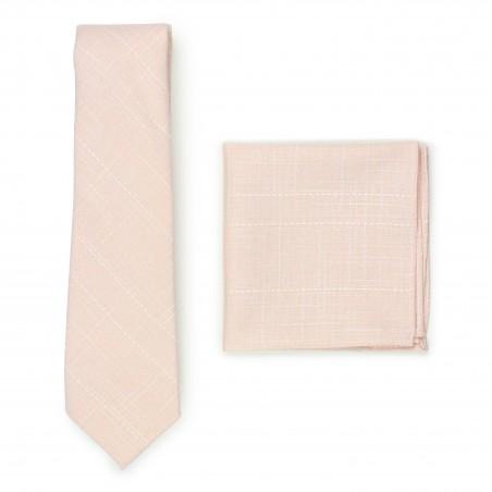 peach pink wedding skinny tie and pocket square