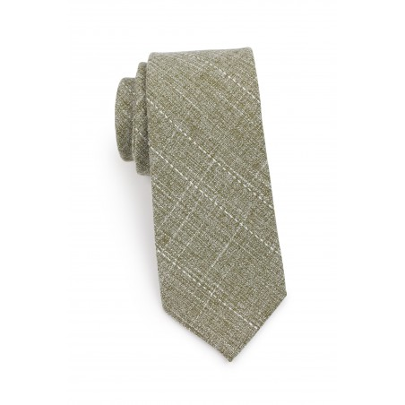 slim cut moss colored cotton necktie in matte woven finish