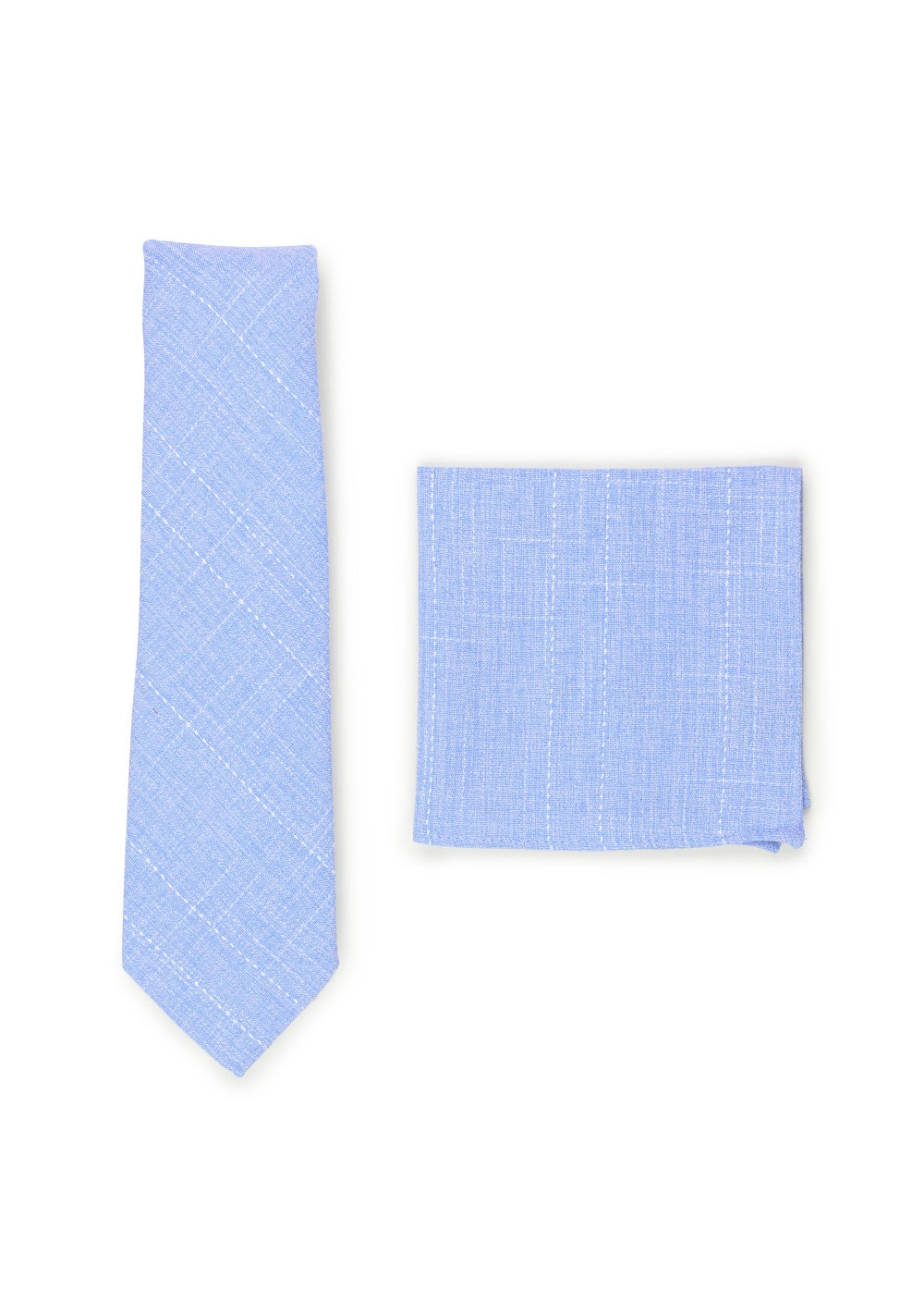 sky blue skinny cotton tie and pocket square