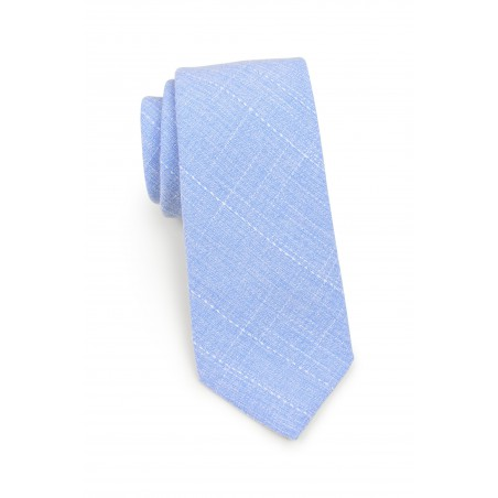 narrow tie in cotton in sky blue color