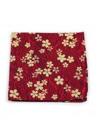 floral designer tie in red with metallic flower design print