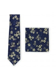 navy and metallic gold floral skinny tie in printed cotton