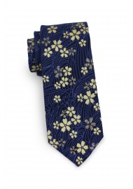 skinny designer tie in navy and metallic gold