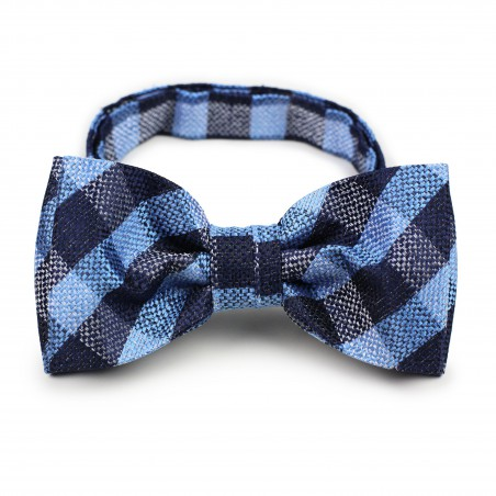 Blue plaid pre-tied bow tie