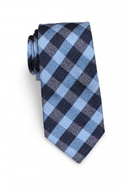 Standard length plaid blue necktie
