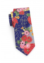 summer floral designer tie in casual printed cotton with metallic golds