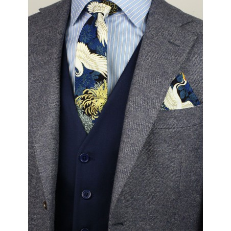 trendy Japanese vintage skinny tie in blue and metallic gold