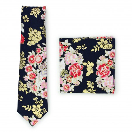 trendy Japanese Floral Tie in vintage design with matching hanky