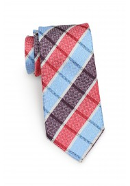 Standard length plaid red and blue necktie