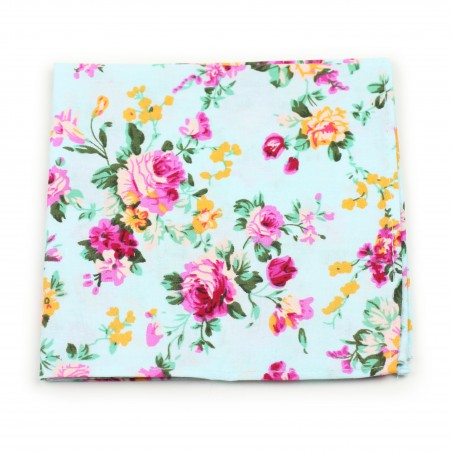 pocket square floral aqua pink cotton