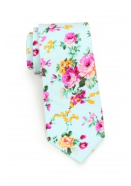 skinny cut cotton floral necktie in turquoise and pink