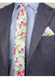styled floral tie in aqua and pink