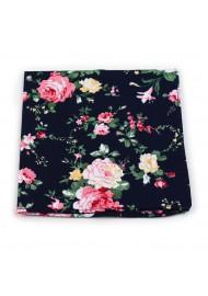 pocket square roses on black