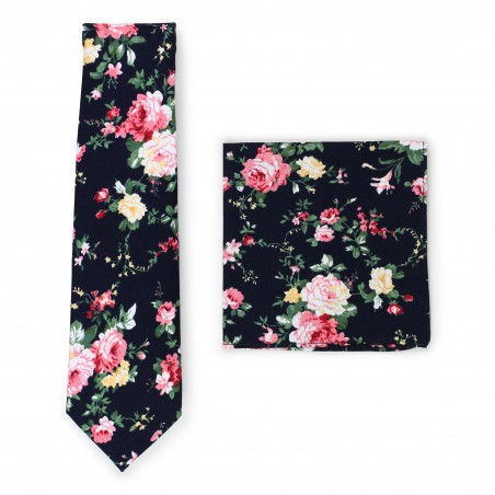 black and pink rose print cotton tie set
