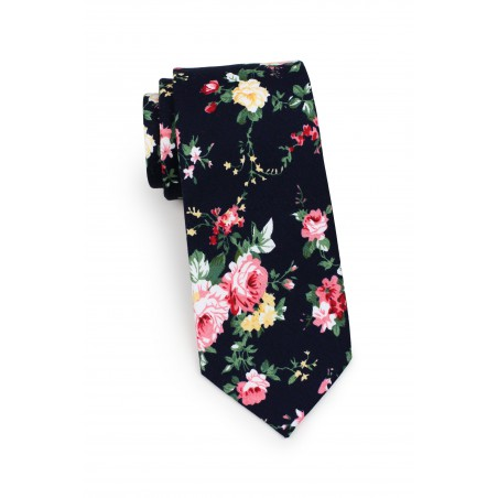 skinny cut cotton mens necktie with pink roses