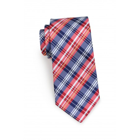 Standard length red and blue tartan necktie