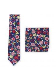 floral tie in cotton with matching colorful pocket square