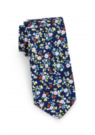 slim cotton tie with tiny flower design