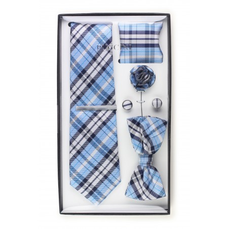 6-piece menswear set in powder blue plaid