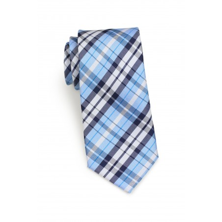 Standard length plaid powder blue necktie