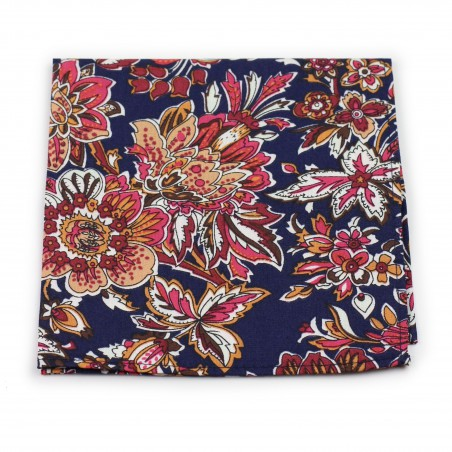 colorful vintage floral suit pocket square