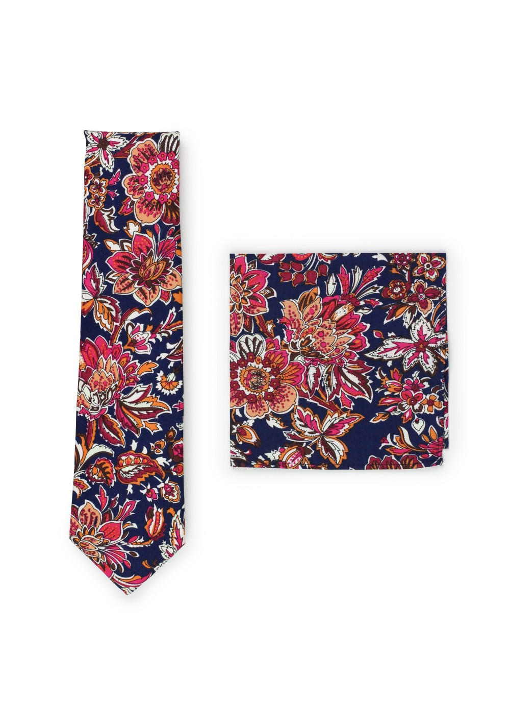 vintage flower cotton tie set in slim width