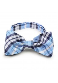 Powder blue plaid pre-tied bow tie