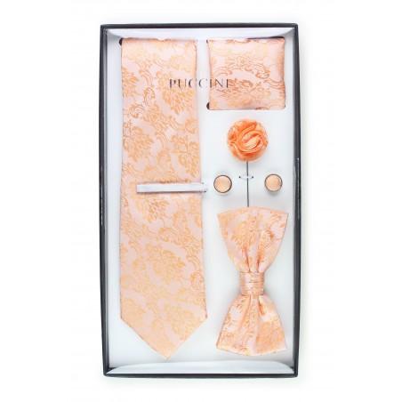 6-piece menswear set in peach paisley