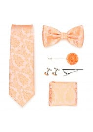 Wedding groomsmen gift set in peach paisley