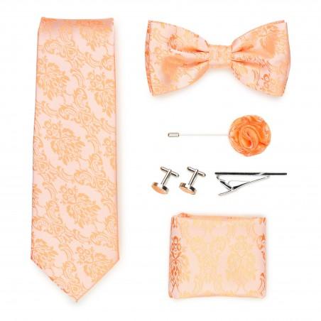 Wedding groomsmen gift set in peach paisley