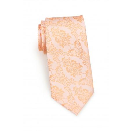 Standard length peach paisley necktie