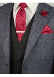 Matching raspberry red paisley necktie and pocket square