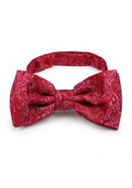 Raspberry red paisley pre-tied bow tie